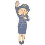 Policewoman with microphone