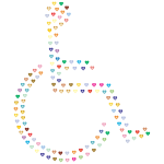 Wheelchair Icon Hearts Prismatic
