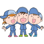 Laughing children cartoon style