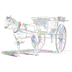 Vintage Horse And Carriage Line Art Prismatic No BG