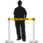 Retractable belt stanchion / airport barrier with a man
