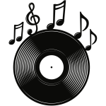 Vinyl Record with Notes Logo