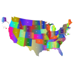 United States Map With Labels Polyprismatic