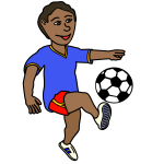 Soccer playing boy coloured