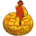 Demon Sitting On Jack O Lantern