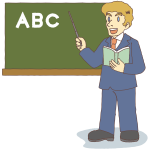 Male teacher teaching alphabet