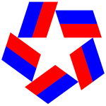 Red White Blue Star Design Negative Space Variation