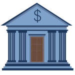 Bank building cartoon icon