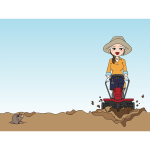 Girl with rototiller