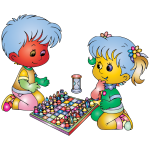 Boy and girl playing colorful chess
