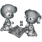 Boy And Girl Playing Chess By DG RA Duochrome