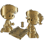 Boy And Girl Playing Chess By DG RA Gold