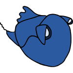 Cartoon blue fish 2