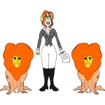 Woman With Male Lions