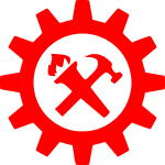 Hammer torch and cog symbol