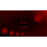 Red glowing inverted cross wallpaper