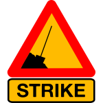 Worker on strike road sign