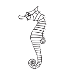 Seahorse silhouette black and white