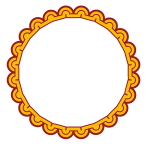 White circle with decorative frame