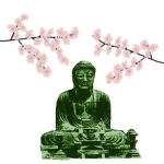 Big Buddha and Cherry Blossoms