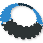 Gear shape in blue and black color