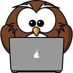 Owl with laptop vector drawing