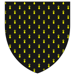 Black shield with yellow pattern