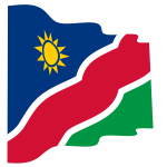 Waving flag of Namibia