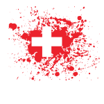Swiss flag ink spatter