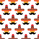 Mexican sombrero seamless pattern
