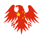 Heraldic eagle with Chinese flag