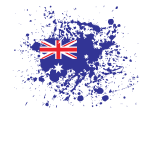 Australian flag ink splatter