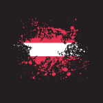 Austria national flag ink splatter