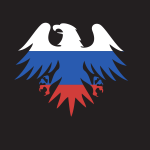 Russian flag eagle silhouette
