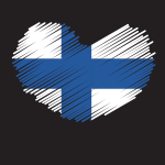 Finland flag heart shape