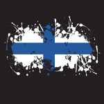 Finland flag ink splatter