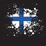 Finnish flag ink splash