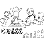 Chess pieces and kids