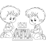 Twins playing chess