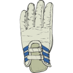 Vector graphics of grey and blue ski glove