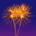 Illustration of fireworks in the night