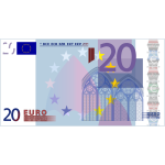 Vector image of 20 Euro banknote