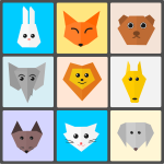 Cute Animals Flat Origami Style