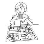 Lady playing chess