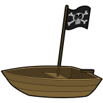 Vector image of single person pirate boat with a flag