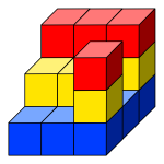 Colored cube tower