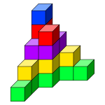 Colorful dices in a tower