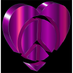 3D Peace Heart Amemthyst