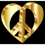 3D Peace Heart Mark II Gold With Background