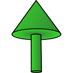Green pointing arrow